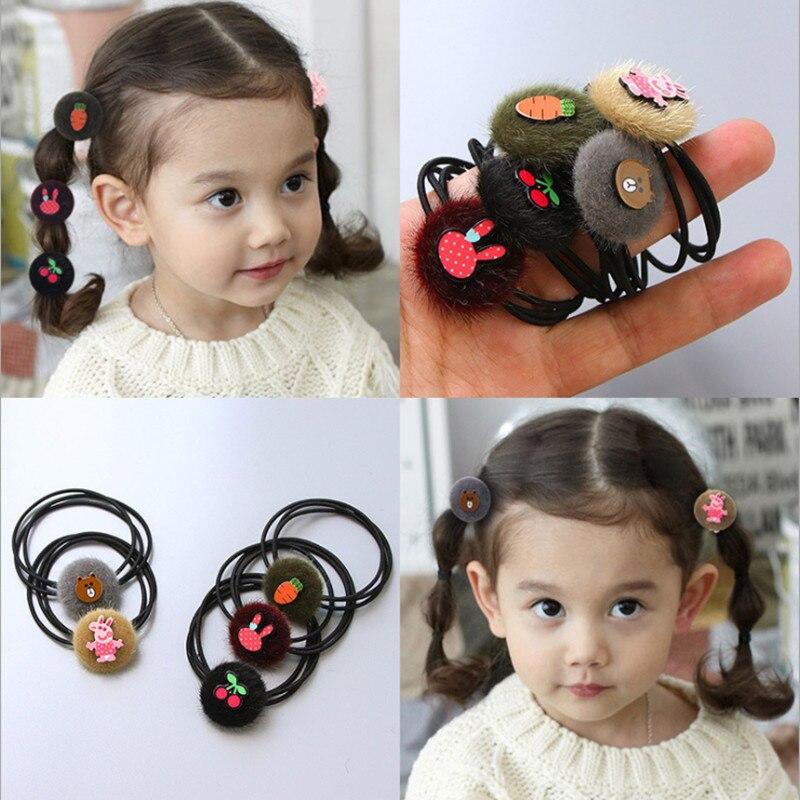 Mink hair cartoon lovely girl princess children hair rope wool pile hair headdress