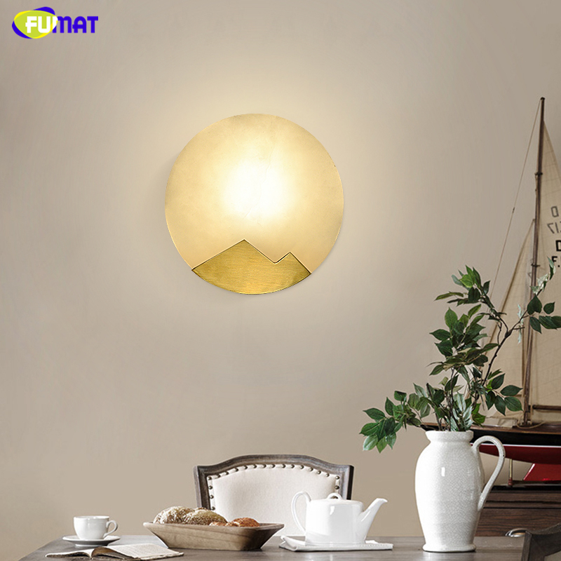 FUMAT Nordic Modern Led Wall Lamps Art Moon Marble Shades Gold Metal Wall Lamps Sconce Living