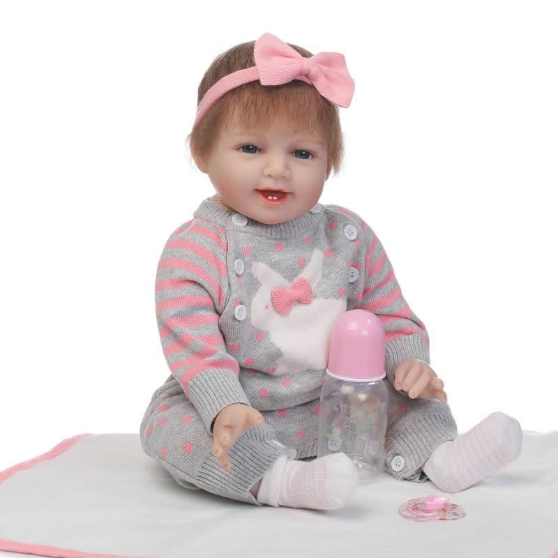NPKCOLLECTION Smile Baby Girl Dolls 22 inch Soft Silicone Reborn Baby Alive Dolls with Mohair Realistic Boneca Reborn Kids Toy navy monkey with smile