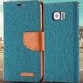 Com logo para samsung s6 casos moda tampa flip magnético slot para cartão carteira capa de couro para samsung galaxy s6 g9200 manga