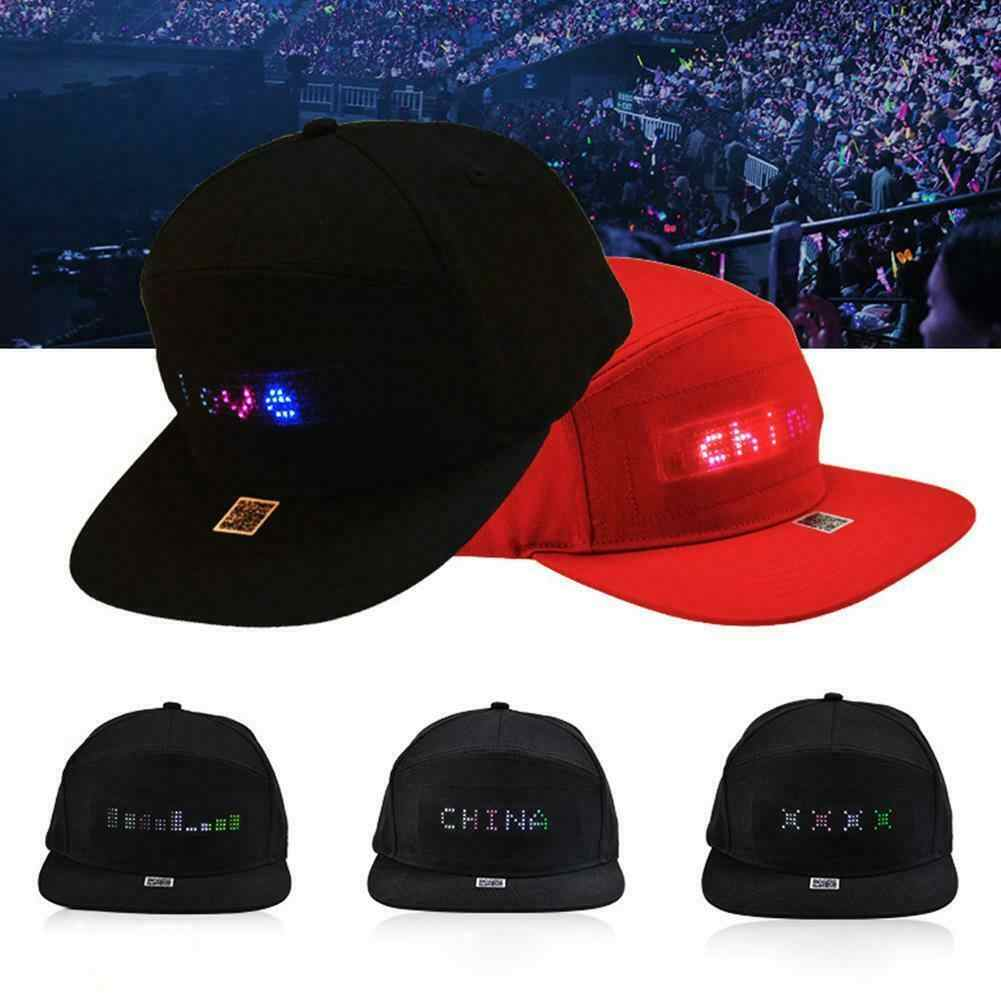 Men Adjustable Caps Animated LED Message Sign Cap Snapback Baseball Running Hat Hiphop Hats
