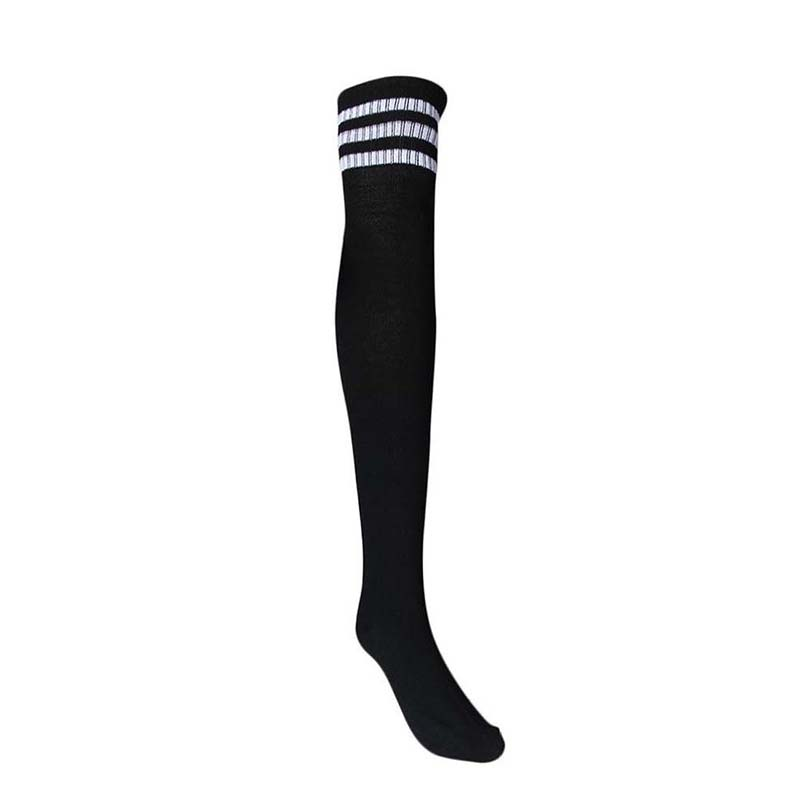 1 Pair Thigh High Socks Over Knee Girls Football Socks (Black)