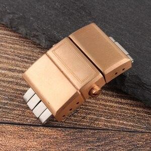 Image 4 - HUXIE20MM الفولاذ المقاوم للصدأ فراشة مشبك ل يوليسي ناردين ساعة التنفيذي غواص البحرية سيليكون مشبك ارتفعت الفضة الذهب الأسود