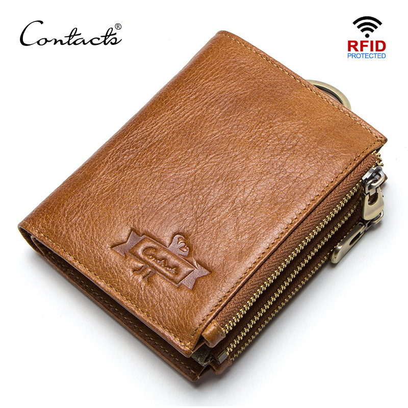 CONTACT'S Genuine Leather RFID Men Wallets Credit Card Holders Mens Wallet With Coin Pocket Key Man Chain Walet Male Clasp Purse