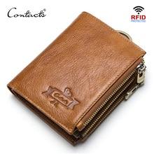 CONTACTS جلد طبيعي تتفاعل الرجال محافظ حاملي بطاقات الائتمان الرجال المحفظة مع عملة جيب مفتاح رجل سلسلة walet الذكور المشبك محفظة