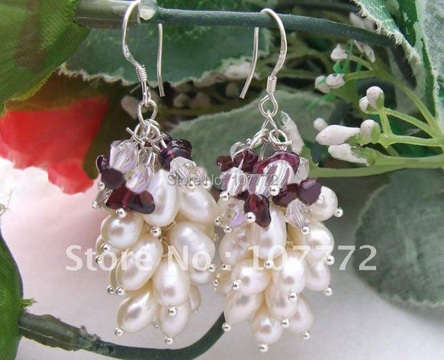 @ @ ~ blanco de la perla y granate pendientes de plata esterlina libre + shippment