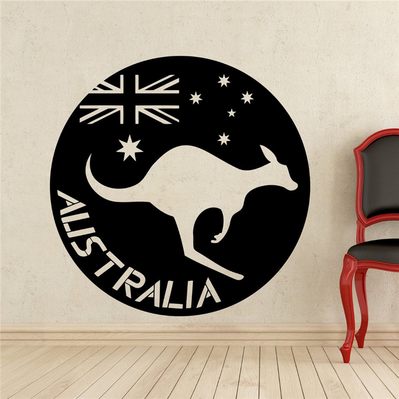 Kangaroo Wall Sticker Wild Animal Wallaby Australia Flag Vinyl Nursery Room Interior Decoration Home Art