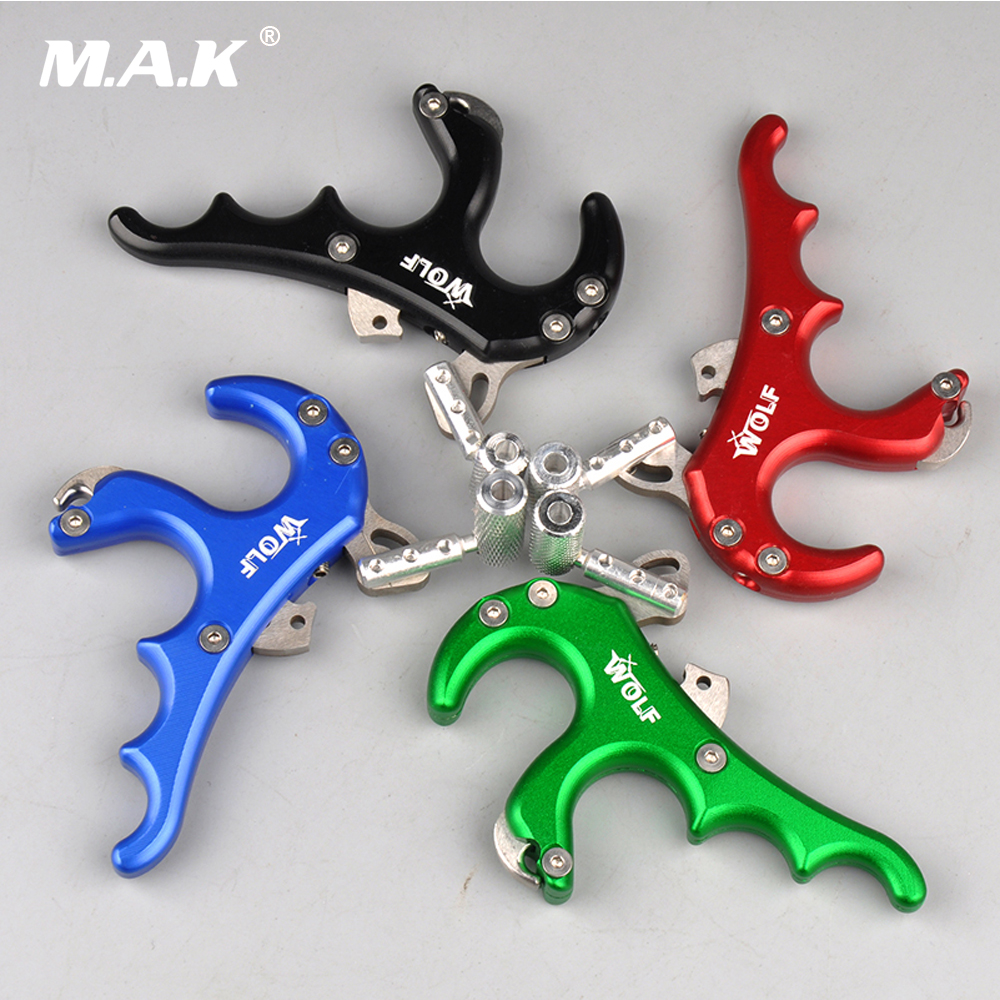4 Color 4 Finger WOLF Grip Caliper Release Aid Stainless Steel Release for Compound Bow Hunting