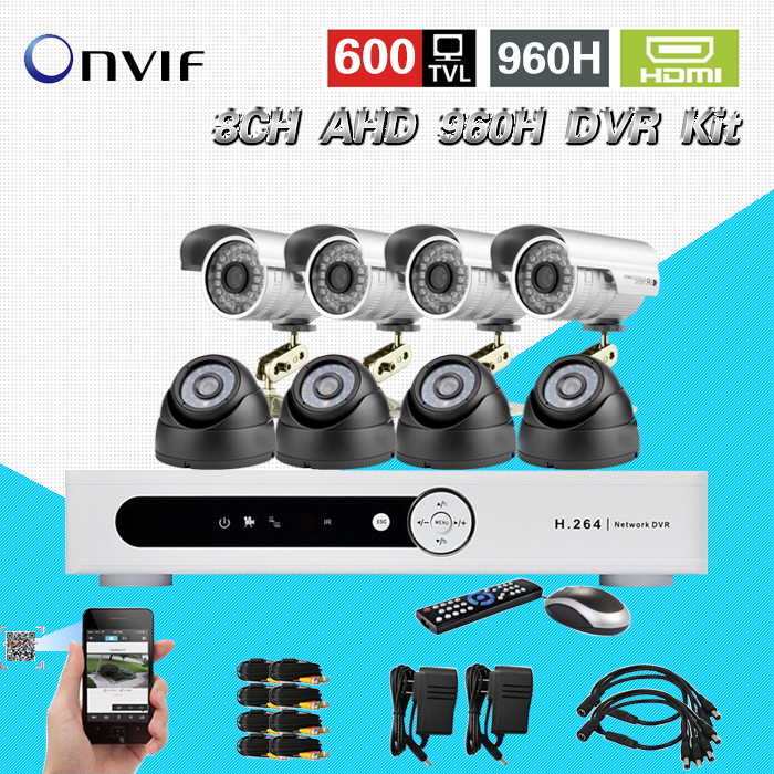 TEATE CCTV System 8ch 600TVL Camera System 8pc indoor Outdoor IR Cameras 8ch cctv DVR Kit Security surveillance System  CK-196