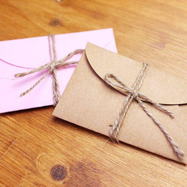 50pcs lot handmade mini craft paper envelope brown and pink paper