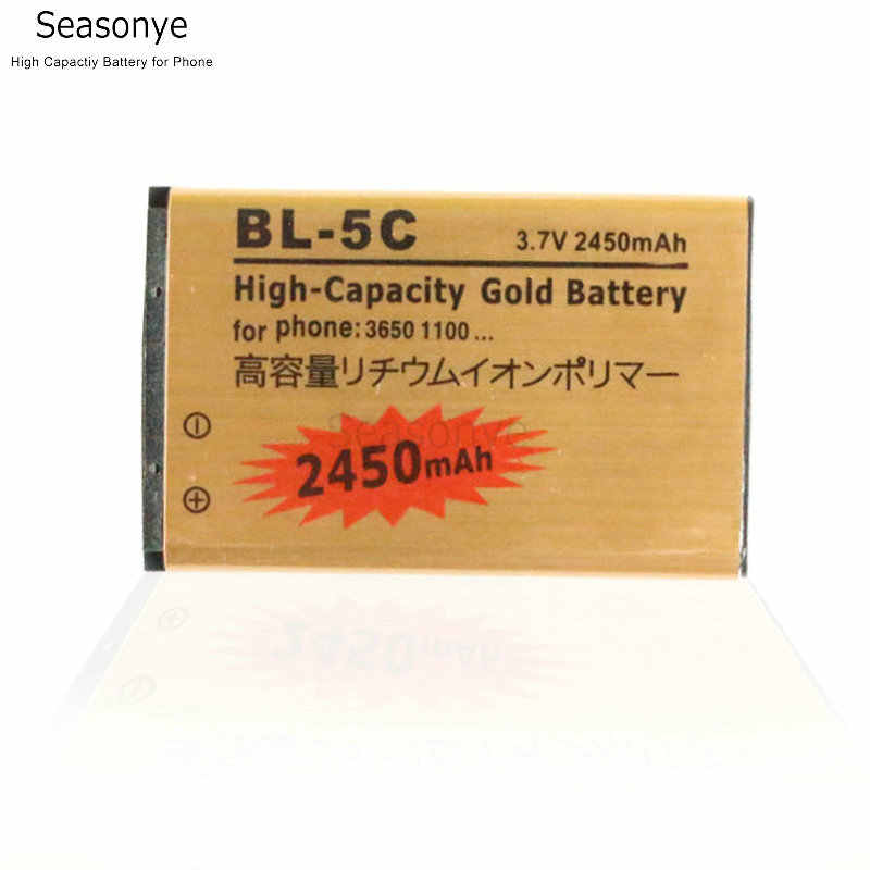 Seasonye 2450mAh BL-5C BL5C BL 5C Gold Replacement Battery For Nokia 2710 2730c 3100 3105 3109C 3110C 3120 3110 3125 3208c