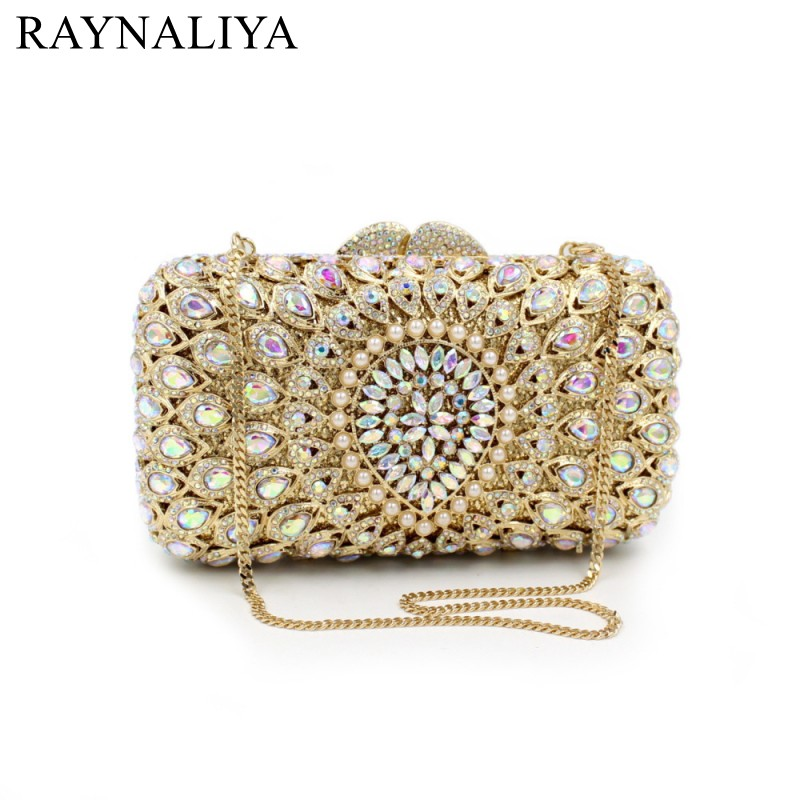 Ladies Topaz Crystal Clutch Evening Bags Women Hollow Out Gold Glitter Metal Minaudiere Wedding Bridal Handbag SMYZH-F0034