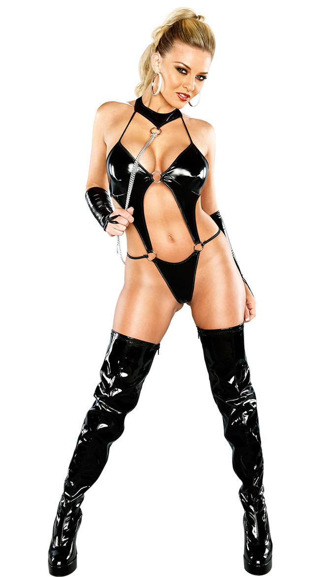 Latex sexy leather lingerie that