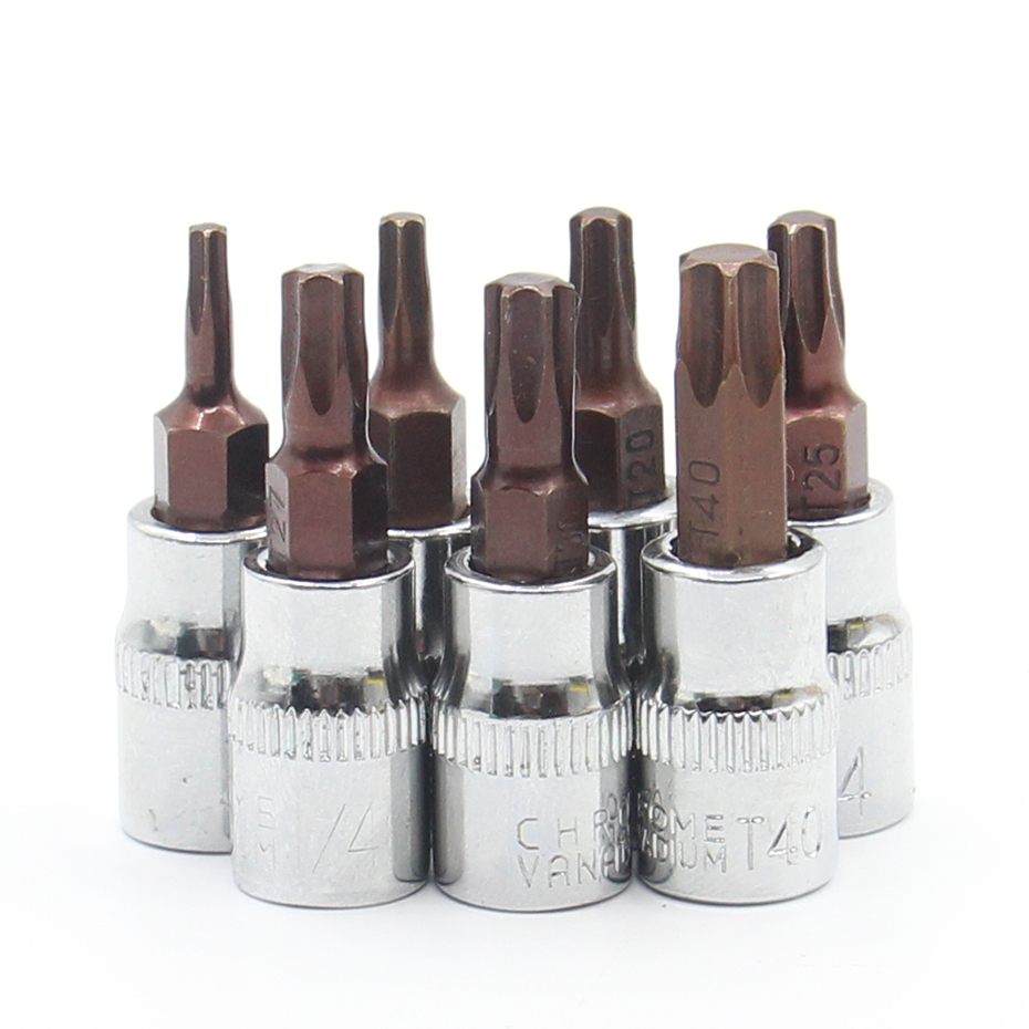 1Pcs/lot Torx Screwdriver Bit Bits 1/4 Inch Drive Socket Allen Key Ratchet Socket Wrench Adapter T10 T15 T20 T25 T27 T30 T40