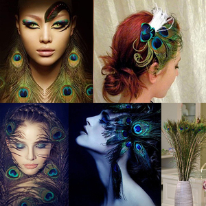 "Image 5 - 100 יחידות 25 30 ס""מ קישוטי נוצות עיני נוצות זנב טווס טבעי יפה למלאכה/אמנות/שמלה/כובעים/כלה תלבושות"