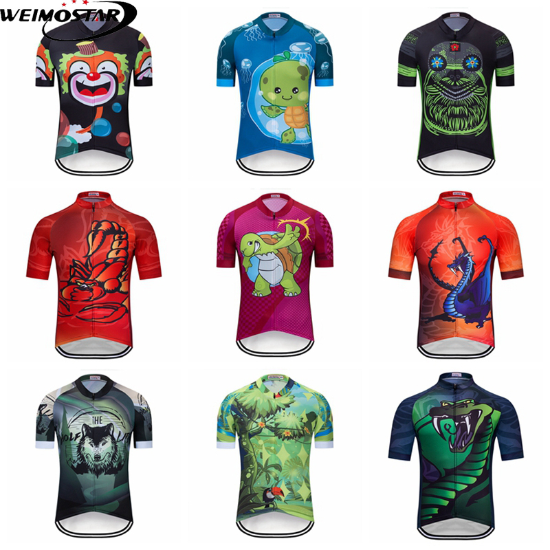 Weimostar Animal Team Boy Cycling Jersey Top Summer Men Mountain Bicycle Clothing Quick Dry Racing Sport MTB Bike Jersey