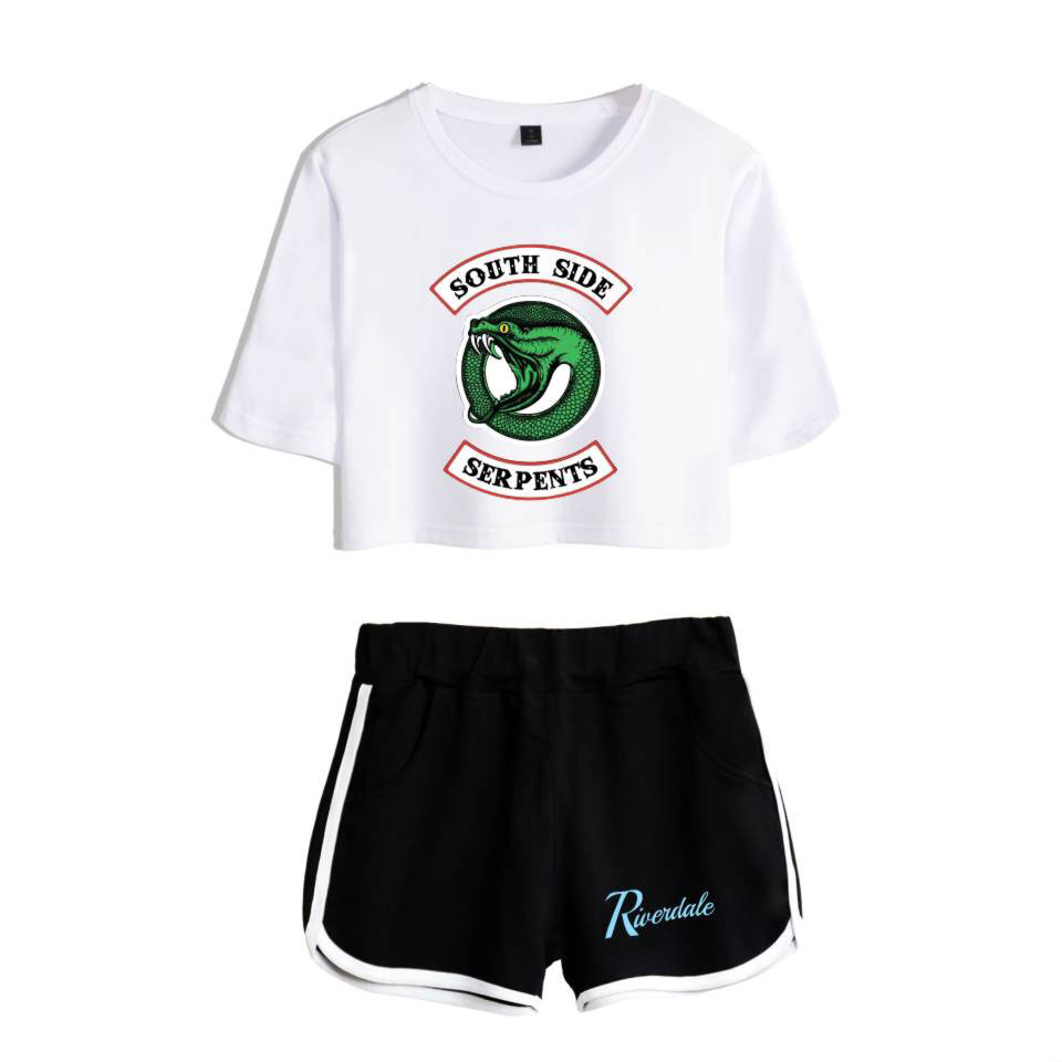New Riverdale T shirts Summer Cotton Print T-Shirts Women Two-piece Set Riverdale South Side Serpents Short Sleeve Top+Shorts