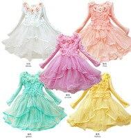 Moda yüksek kaliteli tatlı kore stil çocuk 3d çiçek dantel uzun kollu bebek kız kış parti elbiseler çocuklar