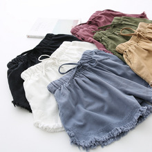 Cơ bản Bị Sờn Quần Short Cotton cho Nữ Ống rộng Quần Short Mùa Hè Cổ Trắng, Đen