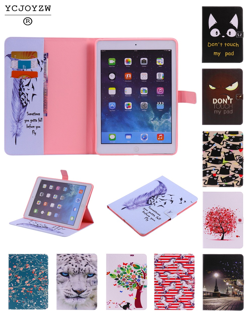New popular cartoon Case for Apple iPad Air 1 A1474`A1475`A1476.PU leather cover+TPU soft Case-Smart sleep wake up case YCJOYZW ycjoyzw tpu smart case cover for apple ipad mini 4 or for ipad air 2 wake up sleep ultra slim designer tablet pu leather cover