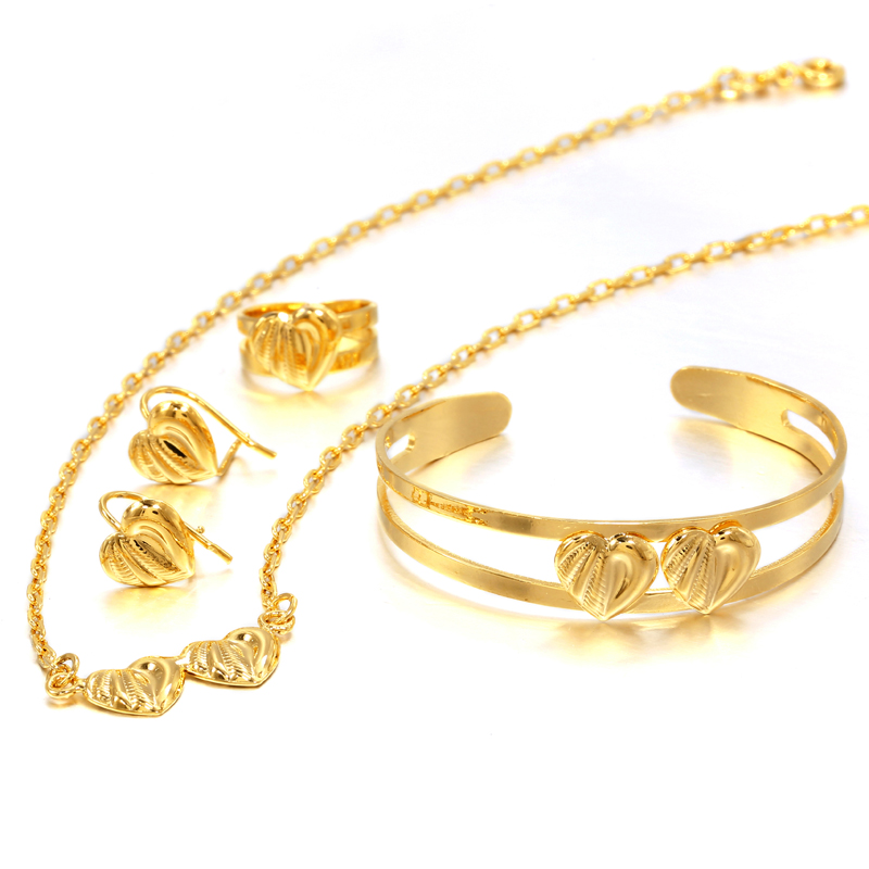 Ethlyn Jewelry Gold Color Fashion Lovely Trendy Children Baby Jewelry Sets Necklace/Earrings/Ring/Bangle Kids Gifts Arab feature