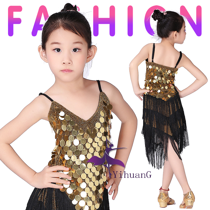 Kids Latin Dance Dress Girls Fringe Latin Dance Costume Clothes Children Ballroom/Tango/Rumba/Samba/Latin Salsa Dress Dancing