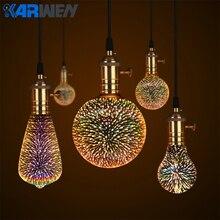 KARWEN, светодиодная лампа, 3D фейерверк, декоративный светильник Эдисона, лампа E27, вечерние лампы A60 ST64 G80 G95, Праздничный Рождественский светильник