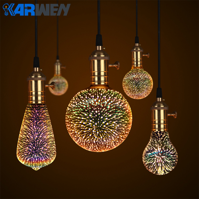KARWEN Led Lamp 3D Fireworks Light Bulb Decorative Edison Bulb E27 Party Lamp A60 ST64 G80 G95 Holiday Christmas Novelty Light