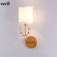 New Nordic Bedroom Bedside Lamp Wall Simple Modern Aisle Corridor Hotel Golden Background Creative Cloth LED
