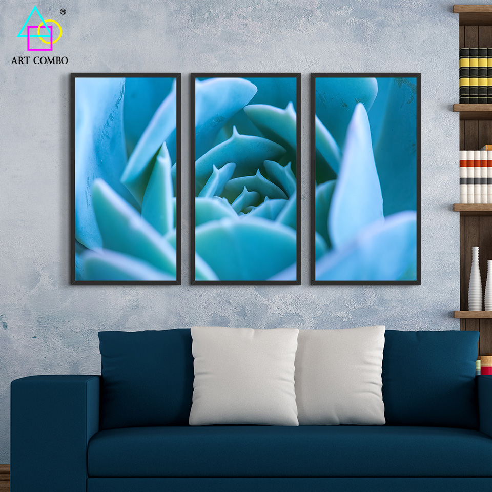 3 panels modern painting meaty plant feature artwork home wall decor picture rectangle cotton no frame