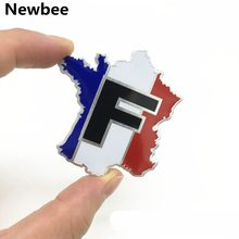 3D Metal France French Flag Map Badge Emblem Logo Car Sticker Decal Decoration for Auto Car Window Grille Motorcycle Home Laptop(China)