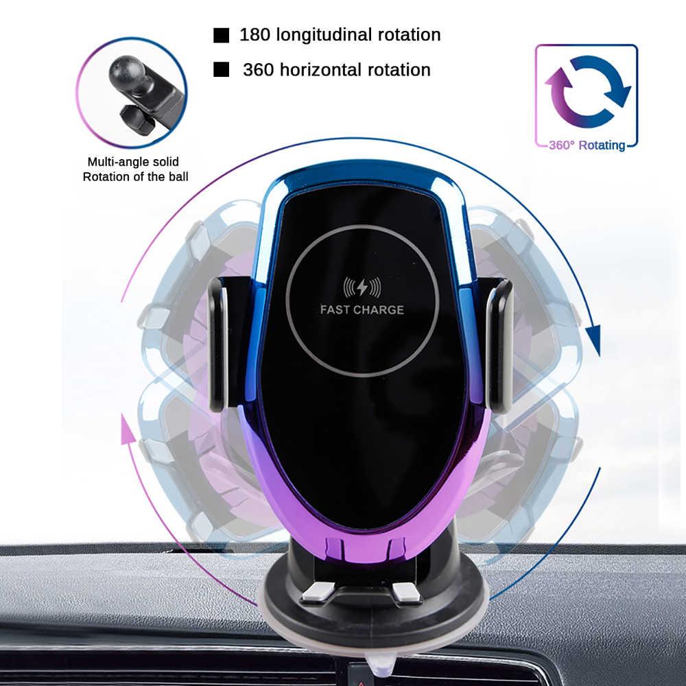 S6 10 W Rápido Carregador Qi Sem Fio Carregador de Carro Automático de Fixação Rápida de Carregamento Do Telefone Mount Holder para iPhone Huawei Samsung LG