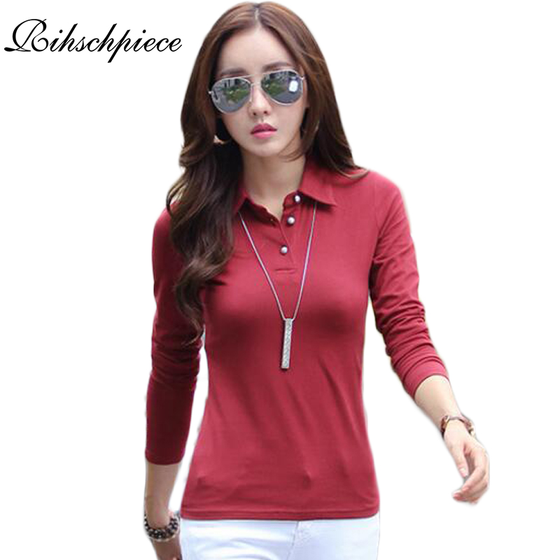 Popular womens long sleeve polo shirt buy cheap womens for Plus size polo shirts ladies