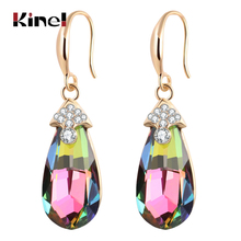 Kinel Hot Fashion Colorful Crystal Drop Earrings Women Gifts Luxury Gold OL Jewelry Bridal Wedding Shipping