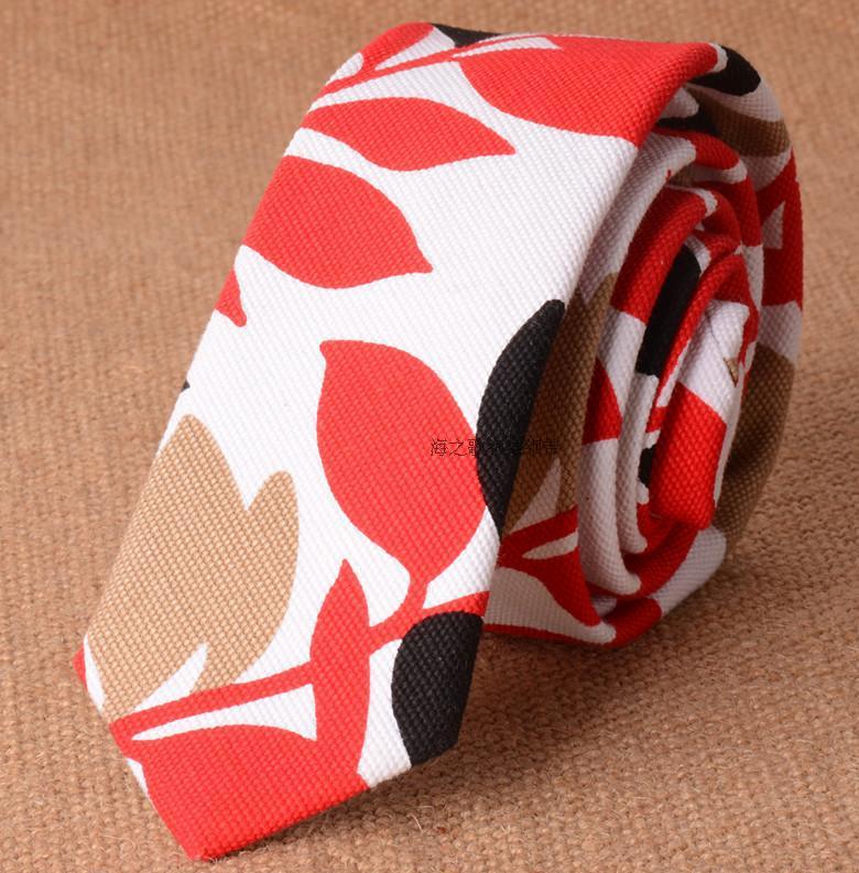 Leaves Pattern Red Cotton Tie Slim 5cm Plant Ties for Men 2017 New Designer Skinny Mens Necktie Linen Fashion Gravata Slim