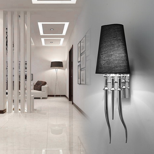 Ipe Cavalli Brunilde Modern Stainless Wall Lamp For Bedroom Sconce With Shade Retro