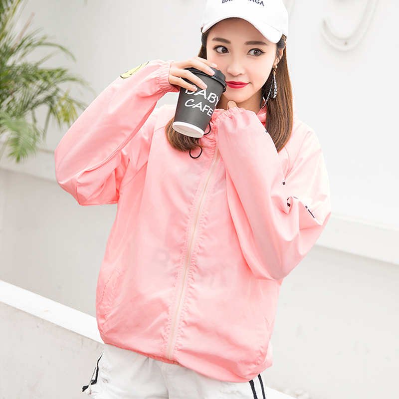 Hooded   Jackets   Women Smiley Print New Women's   Basic     Jacket   Fashion Windbreaker High Quality Outwear Female Coat