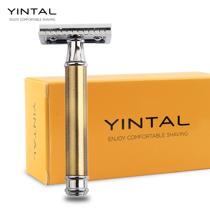 YINTAL Razors For Shaving Men <font><b>Blade</b></font> Replaceable Bronze Style Brass Handle Double Edge Safety Razor 1 Razor Simple packing