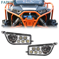FADUIES Chrome Auto Accessories ATV LED Headlight kit LED Headlamp For Polaris Razor Push 1000 RZR XP 1000