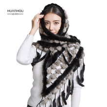 HUANHOU QUEEN 2017 new arrival fashion shawl real mink fur pashmina ,beautiful warm ,slim scarves with real mink fur.