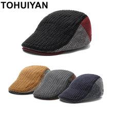 95551fbf53235 TOHUIYAN para hombre de lana de punto vendedor de periódicos sombrero  cálido invierno gorra de Boina de pico visera plana taxist.