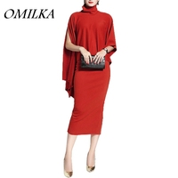 New 2017 Elegant Summer Women Cloak Cape Turtleneck 2 Piece Dress Sexy Red OL Club Party