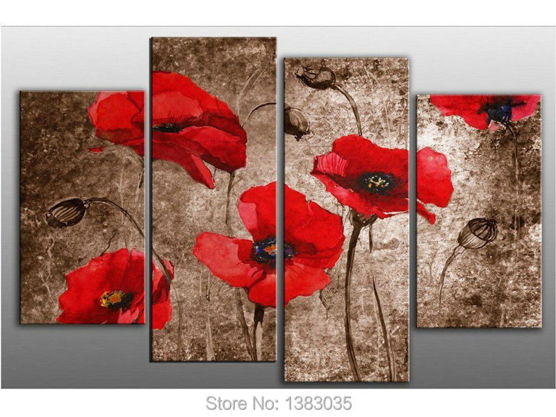Red Poppy Flowers Hand Painted Oil On Canvas Art Set Modern Abstract ...