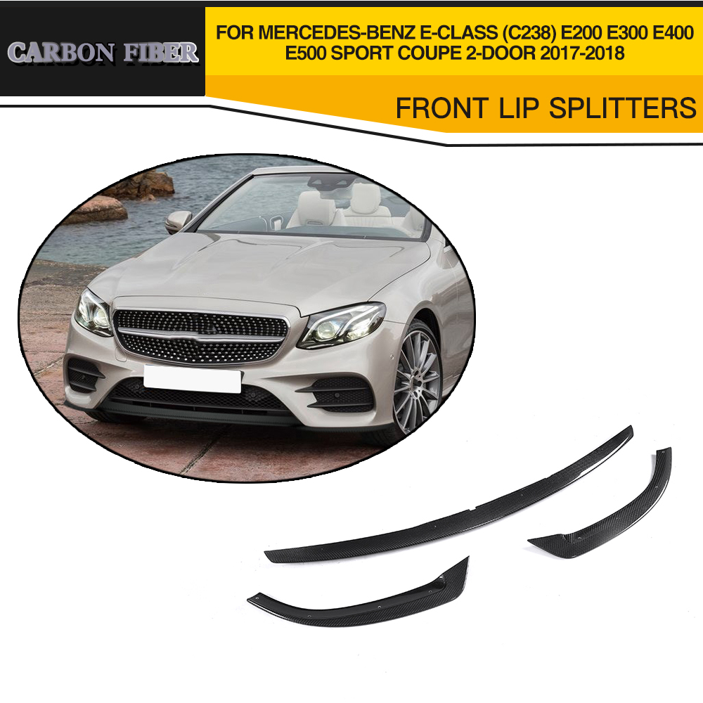 Carbon fiber Car Front Lip Aprons For <font><b>Mercedes</b></font> Benz E Class C238 E200 <font><b>E300</b></font> E400 E500 Sport <font><b>Coupe</b></font> 2 Door 2017-2018 image