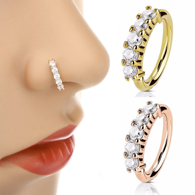 120df6f9e Hot Nose Ring Ear Hoop Tragus Helix Cartilage Earring Crystal Stainless  Steel Gold Silver Rose Body Jewelry