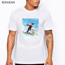 Vintage Style Penguin Downhill Skiing animal printed tshirt men white funny t shirts tumblr  clothes t-shirt streetwear