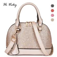 Fashion New Female Shell Bag Sequined Gold 2019 high quality PU leather Women Designer Handbag Lady Tote Shoulder Crossbody Bag недорого