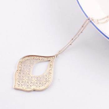 ZWPON 2020 New Gold Filigree Morocco Teardrop Pendant Necklace for Women Fashion Two Tone Geometric Long Necklace Wholesale 2