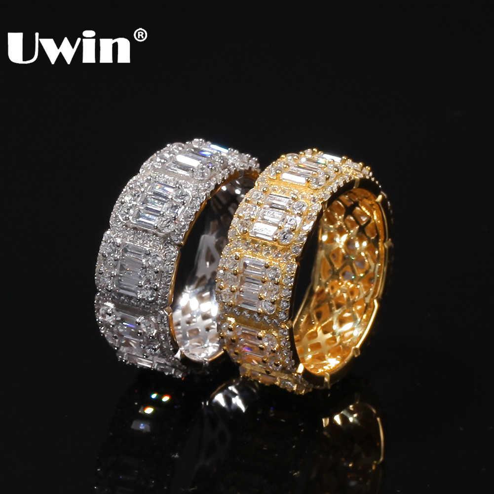 UWIN 8 มม./10 มม.Baguette แหวน Full Iced Bling Cubic Zirconia บุรุษสตรี Hiphop แหวนแฟชั่นเงิน /Gold เครื่องประดับ