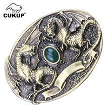 CUKUP Запада против китайского декоративная Дракон латунь пряжка металл настоящий нефрит 3.7-3.9 см в ширину ремня Ковбой пряжки для мужчин BRK020